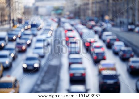 City roads with cars traveling photo from above