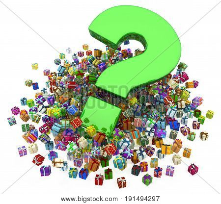 Gift large group 3d illustration big question horizontal over white