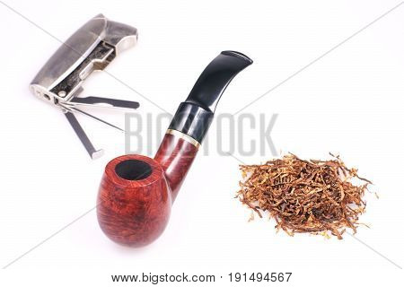 Pipe tobacco cigarette lighter on a white background