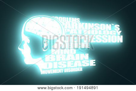Abstract illustration of a human head with brain. Woman face silhouette. Medical theme creative concept. Parkinsons syndrome disease tags cloud. 3D rendering. Blue neon illumination