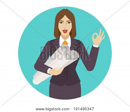 Businesswoman holding the project plans and showing a okay hand sign. Portrait of businesswoman in a flat style. Vector illustration.