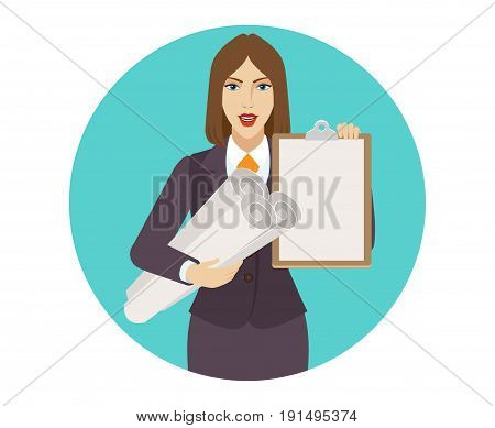 Businesswoman holding the project plans and clipboard. Portrait of businesswoman in a flat style. Vector illustration.