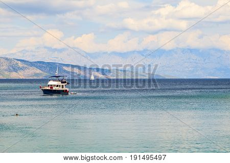 Beautiful view of Adriatic sea and Dalmatian mountains on the background