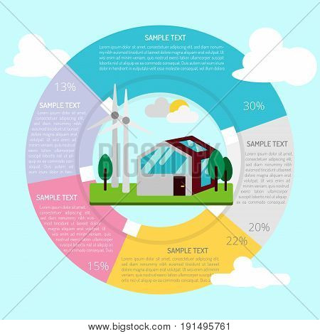 Energy-efficient House Infographic | set of vector diagram illustration use for presentation, business, marketing and much more.The set can be used for several purposes like: websites, print templates, presentation templates, and promotional materials.