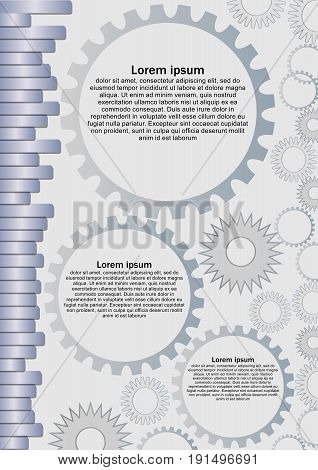 Techno background with metallic strips and gears. Suitable as leaflet template for technical exhibition or machine parts catalogue