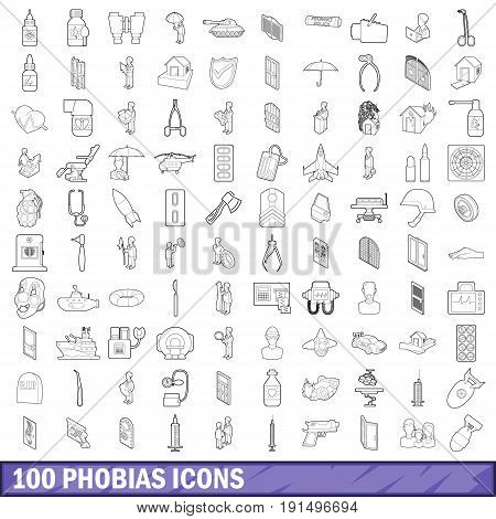 100 phobias icons set in outline style for any design vector illustration