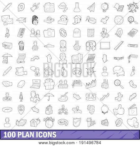 100 plan icons set in outline style for any design vector illustration