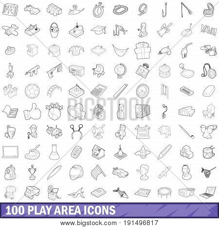 100 play area icons set in outline style for any design vector illustration