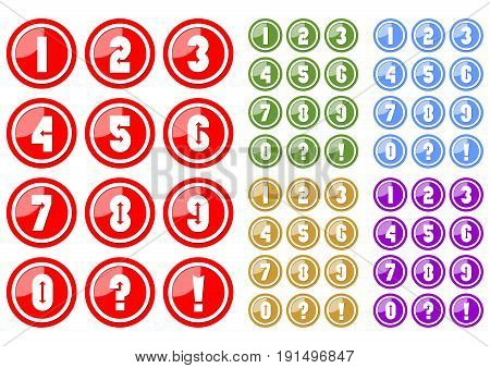 Set of white numbers in circle button includes five color variants red green blue yellow and purple. Included also button with question mark and exclamation mark.