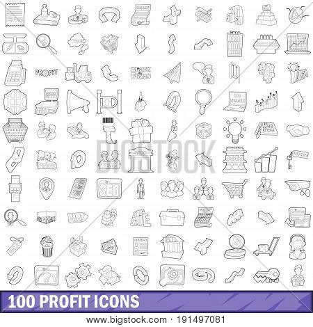 100 profit icons set in outline style for any design vector illustration