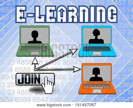 E-learning billboard with laptop and button join. Modern way of study