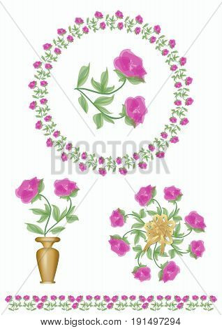 Set of floral motifs with tender light purple roses blossom. Rose in a wreath rose in a vase bouquet of roses frame border with rose motif. Design element for leaflet poster invitation announcement