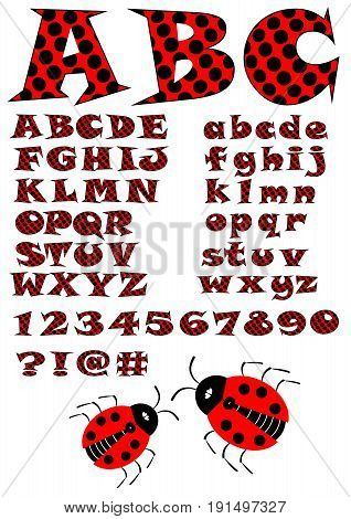 Alphabet in ladybug style uppercase and lowercase letters in red and black design numbers question and exclamation mark and two ladybugs in addition