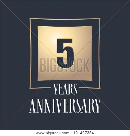 5 years anniversary celebration vector icon logo. Template design element with golden number for 5th anniversary greeting card