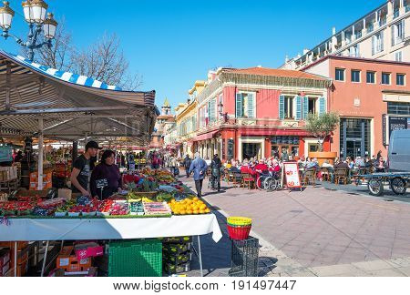 Nice France - March 19 2016: Food market and open air bar in the old town