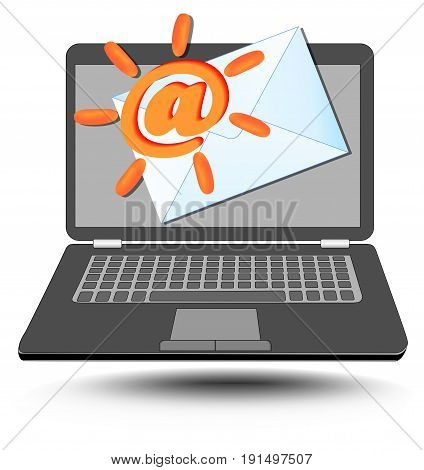 Laptop with at sign stylized as sun and mailing envelope. Emblem for mail services and internet communication.