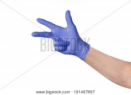 Male hand in blue cleaning latex glove isolated on white background. Closeup photograph with copy space. Backdrop for advertising, packaging or concept.