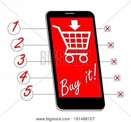 Smartphone with shopping cart buy it inscription designed as shopping list with lines and numbers EPS 10 vector