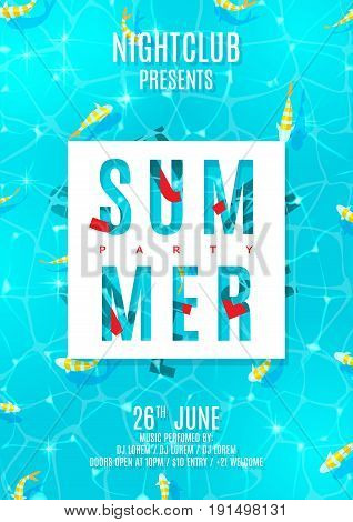 Poster for summer party with top view on water texture. Top view on fish in sea. Vector illustration with special offer of discount season. Invitation to nightclub.