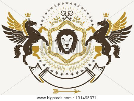 Luxury heraldic vector emblem template. Vector blazon created using graceful Pegasus monarch crowns and security keys. Wild lion.