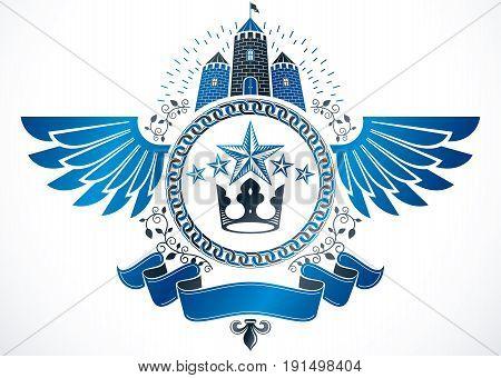 Vintage award design vintage heraldic Coat of Arms. Winged vector emblem composed with medieval castle imperial crown and pentagonal stars.