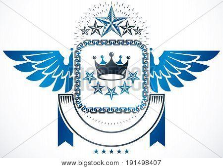 Winged classy emblem vector heraldic Coat of Arms created using royal crown and pentagonal stars