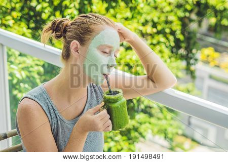 Spa Woman Applying Facial Green Clay Mask. Beauty Treatments. Fresh Green Smoothie With Banana And S