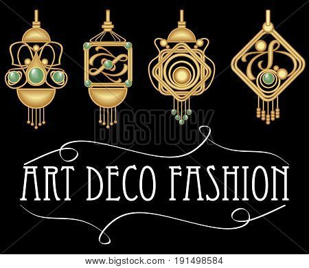 Gold earrings with green gem. Set of antique gold jewel in art deco style. Nostalgic vintage patterns. Metallic brass jewelry. EPS 10 vector.