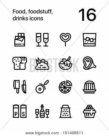 Food, foodstuff, drinks icons for web and mobile design pack 3
