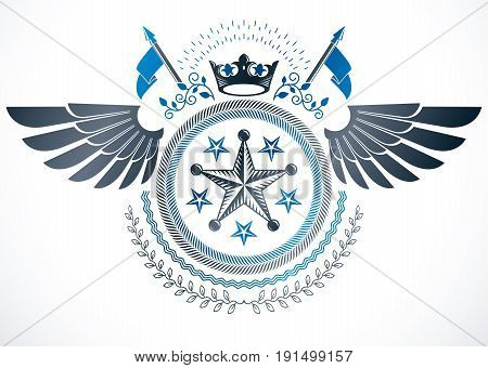 Vintage vector design element. Retro style winged label created using monarch crown pentagonal stars and laurel wreath