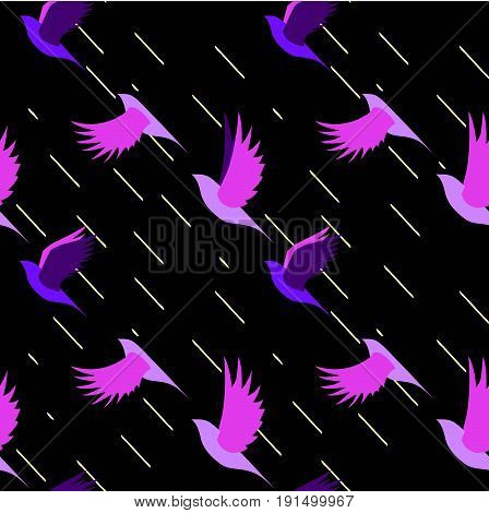 seamless pattern of flock of birds flying in the dark during a rain