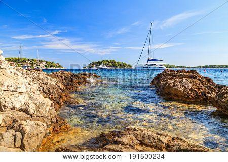 Landscape photo of beautiful adriatic rocky coastline