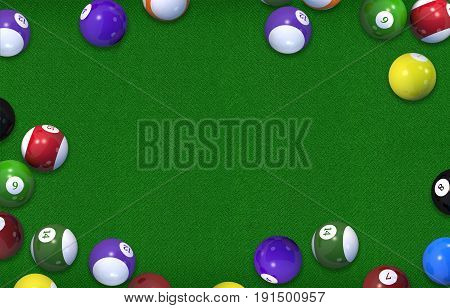 Biliard Table 3D Rendered Illustration Background. Billiard Game Copy Space Concept.