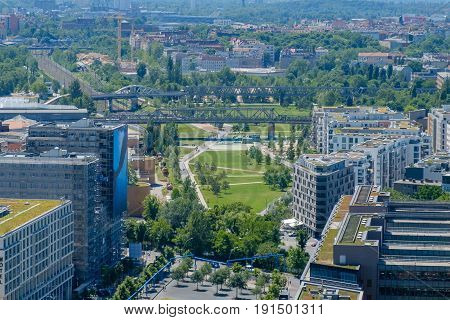 City Aerial - Public Park In Downtown Berlin