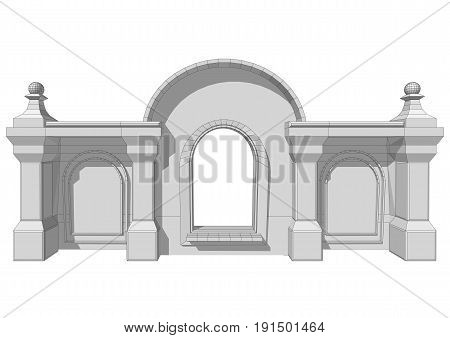 Architectural roof element isolated on white background