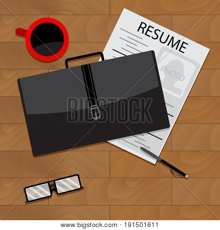 Job search top view. Career and resume job seeker and application vector illustration