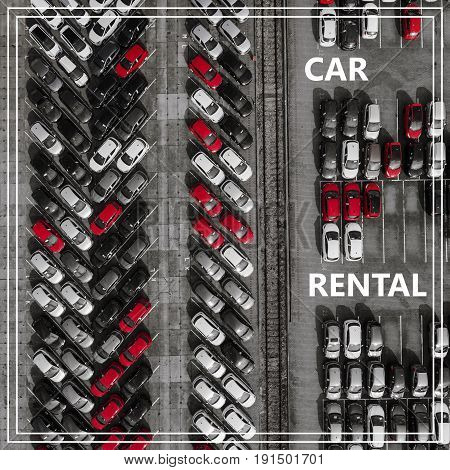 Word Auto Rental Over Many Cars From Above.