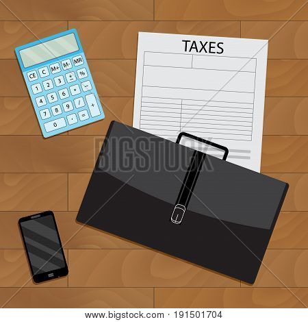 Business procedure calculation of taxation top view. Vector tax accounting tax form and finance audit illustration