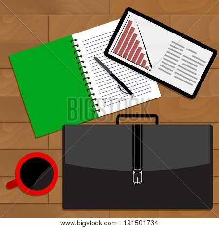 Business crisis financial fall chart. Vector crisis concept in business recession business illustration business graph