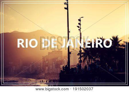 word Rio de janeiro. over Ipanema beach.