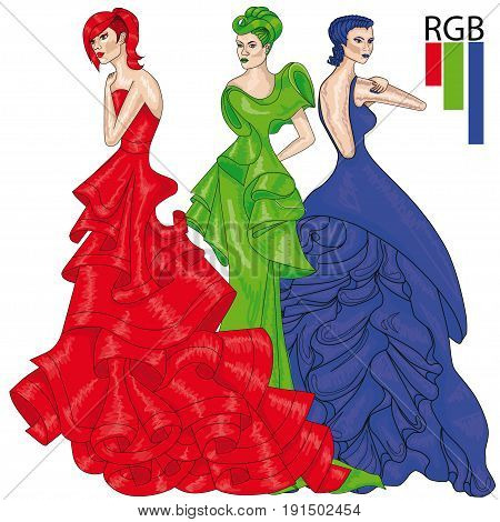 Additive color model RGB. Girls in long evening gowns. Fashion.