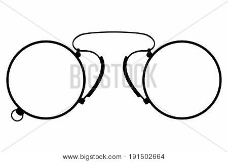 pince-nez old retro vintage icon stock vector illustration isolated on white background