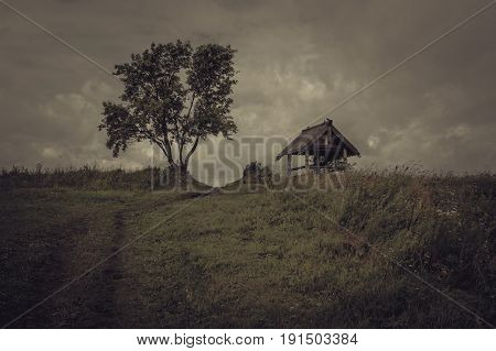 Remembering the past. A rural overcast moody landscape