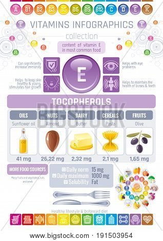 Vitamin E food icons. Healthy eating text letter logo, isolated background. Diet Infographic diagram. Table vector illustration