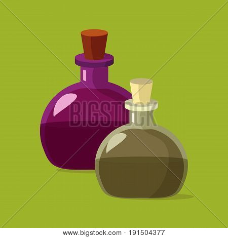 Two flasks of potion. Cartoon flat illustration of alchemist or magic beakers of potion, perfume or poison. Great as halloween or medieval game design element.