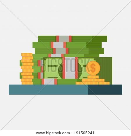 money icon banknotes and coins profit concept image income flat style vector image