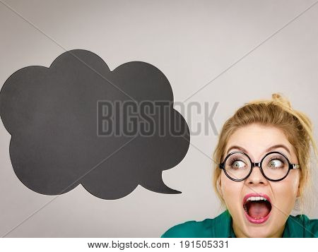 Shocked Business Woman With Thinking Bubble