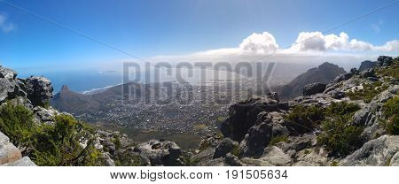 A Capetown panorama form Table Mountains. A nice view on the Stadium and the ocean.