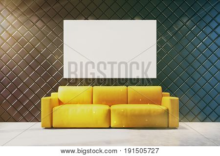 Black living room interior with a large horizontal poster on the wall. There is a yellow couch in a center of the room. 3d rendering mock up toned image