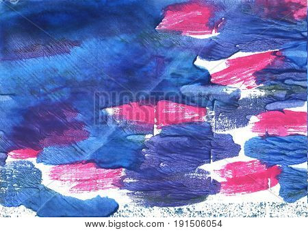 Hand-drawn abstract watercolor. Used colors: Han blue White Chinese blue Liberty Violet-blue Cyan cobalt blue Cerulean blue United Nations blue Tufts Blue